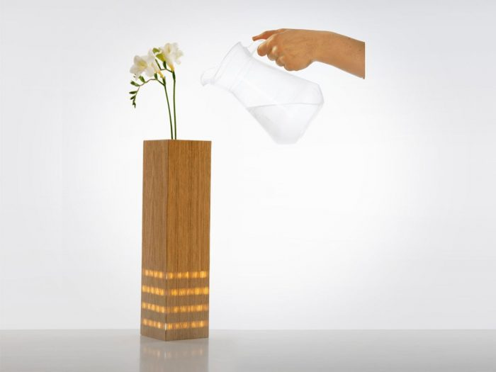Vase with illuminated stripes behind the wooden veneer