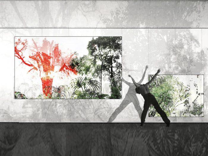 Serpenteado Madrid dance center modern dance man picture frames vegetation