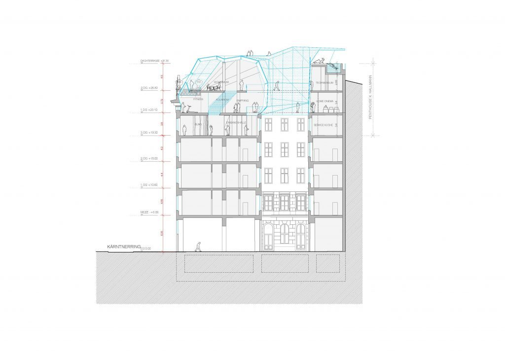 inFABric Architecture & Design | Ateliers Jean Nouvel | Vienne Kärntner Ring17 | Roof extension | Section