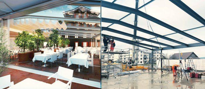 Montage rendering photo construction works Oberkirch Hotel Hirschen inFABric