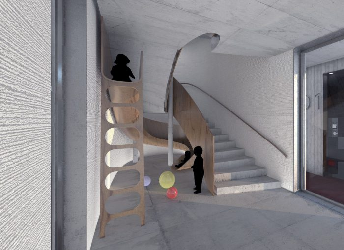 inFABric architects Paris designed slide under stairs in main staircase Timo Bilhöfer